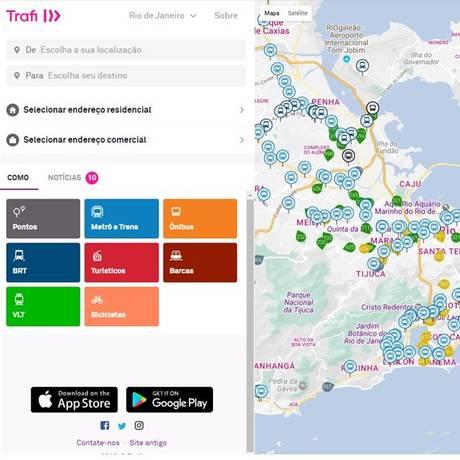 App Trafi ajuda a decidir entre vários transportes para conseguir menor tempo no trajeto Foto: Reprodução