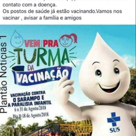 Ministério da Saúde aponta post falso que diz que campanha de vacinação é para adultos Foto: Reprodução/Redes Sociais