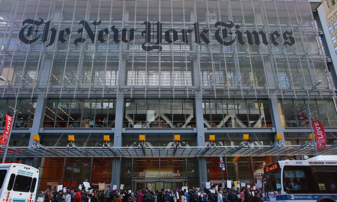 """Fachada do prédio do """"New York Times"""", em Manhattan Foto: KENA BETANCUR / AFP"""