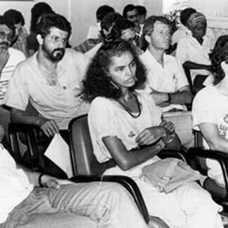 Marina Silva, ao lado de José Genoino, acompanha o julgamento do asssassinato de Chico Mendes, em Rio Branco Foto: Arquivo Pessoal