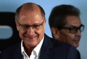 Geraldo Alckmin, pré-candidato do PSDB à Presidência, participa da convenção do PTB Foto: Ailton de Freitas/Agência O Globo/28-07-2018