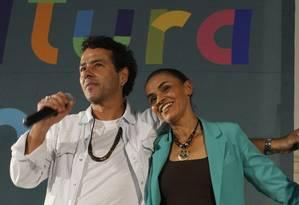 Marina Silva e Marcos Palmeira, em 2014 Foto: Fernando Quevedo / Agência O Globo