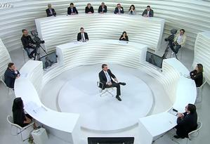 """Jair Bolsonaro durante entrevista no programa """"Roda Viva"""", da TV Cultura Foto: Reprodução"""