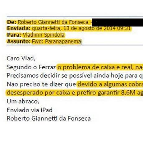 E-mail enviado por Roberto Giannetti a Vladimir Spindola Foto: Reprodução