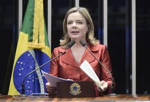 A senadora Gleisi Hoffmann (PT-PR) discursa na tribuna do Senado Foto: Waldemir Barreto/Agência Senado/03-07-2018