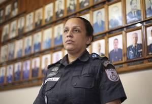 Sob nova direção. Pricilla Azevedo é a nova comandante do 6º Batalhão de Polícia Militar Foto: Pedro Teixeira / Agência O Globo