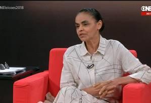 Pré-candidata à presidência Marina Silva participa da Central das Eleições Foto: Reprodução / Reprodução