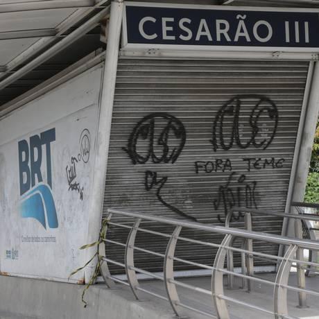 Estação da Cesário de Melo é fechada pelo quarto dia seguido Foto: Roberto Moreyra / Agência O Globo - 07/12/2017