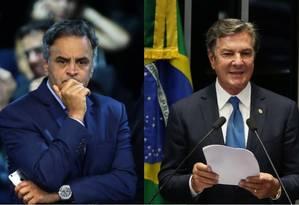 Os senadores Aécio Neves (PSDB-MG) e Fernando Collor (PTC-AL) Foto: Montagem sobre fotos de Jorge William e Givaldo Barbosa