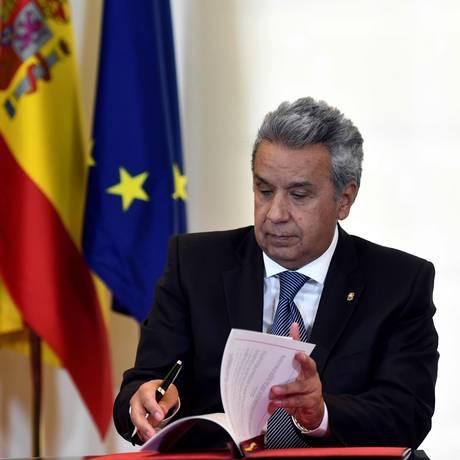 O presidente do Equador, Lenín Moreno: retomada de colaboração com os EUA se deu após visita do vice-presidente americano Mike Pence ao país Foto: OSCAR DEL POZO / AFP