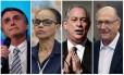 Os candidatos à Presidência Jair Bolsonaro (PSL), Marina Silva (Rede), Ciro Gomes (PDT) e Geraldo Alckmin (PSDB)