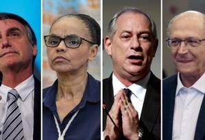 Os candidatos à Presidência Jair Bolsonaro (PSL), Marina Silva (Rede), Ciro Gomes (PDT) e Geraldo Alckmin (PSDB) Foto: Arquivo O GLOBO