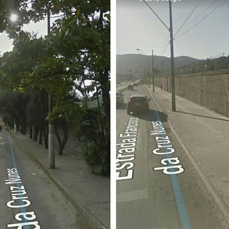 Transoceânica. Diversas árvores no entorno da Estrada Francisco da Cruz Nunes foram arrancadas por conta das obras Foto: André Mattos com imagens do Google Street View/Divulgação