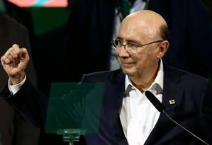 Henrique Meirelles participa da convenção do MDB que o oficializou como candidato à Presidência Foto: Evaristo Sá/AFP/02-08-2018