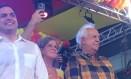 Paulo Câmara, Renata Campos e Jarbas Vasconcelos participam da convenção do PSB que referendou a frente de esquerda em Pernambuco Foto: Maria Lima / O Globo