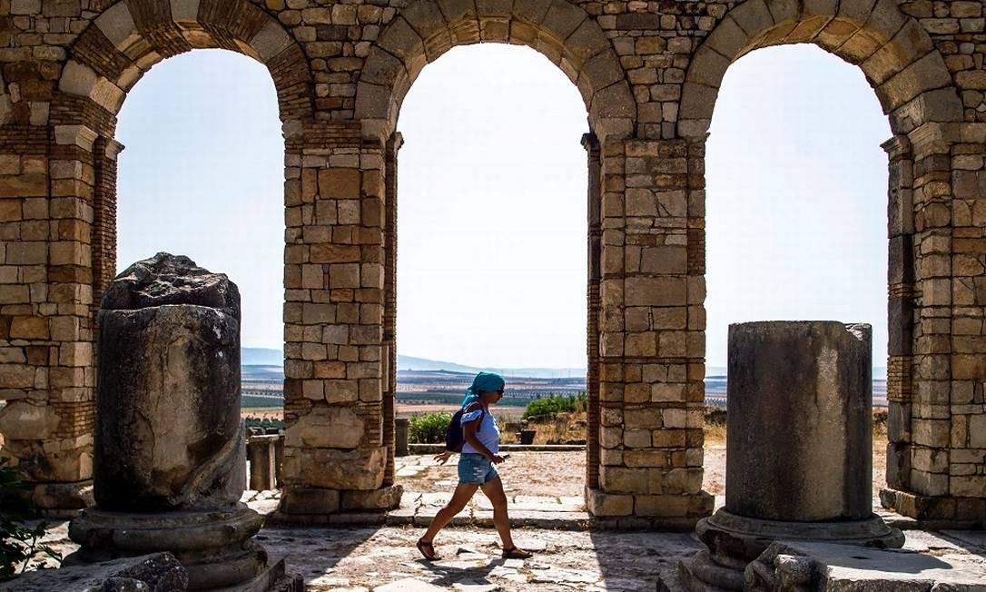 Muitas civilizações passaram por Volubilis, incluindo reinos islâmicos Foto: FADEL SENNA / AFP