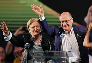 A senadora Ana Amélia (PP)ao lado de Geraldo Alckmin(PSDB) Foto: EVARISTO SA / AFP