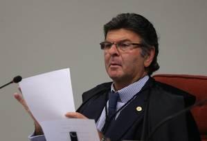 O ministro Luiz Fux, do Supremo Tribunal Federal (STF), durante sessão da Primeira Turma Foto: Givaldo Barbosa/Agência O Globo/22-05 -2018