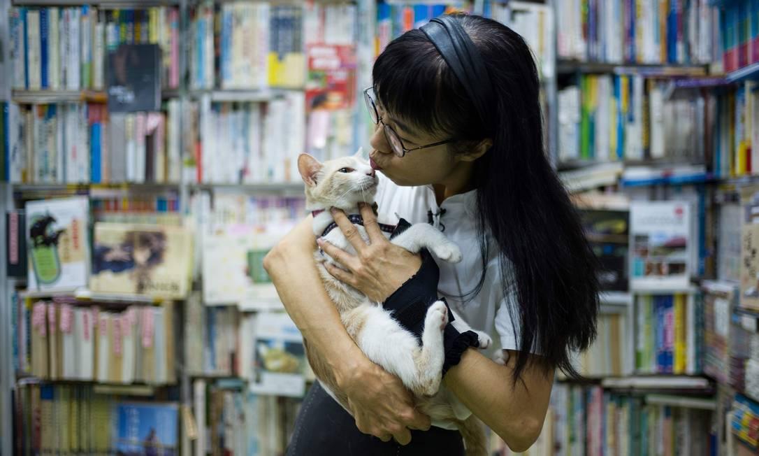 Caroline Chan beija um gato na livraria Sam Kee em Hong Kong, onde cerca de 40 gatos perdidos andam livremente sobre pilhas de títulos Foto: ANTHONY WALLACE / AFP