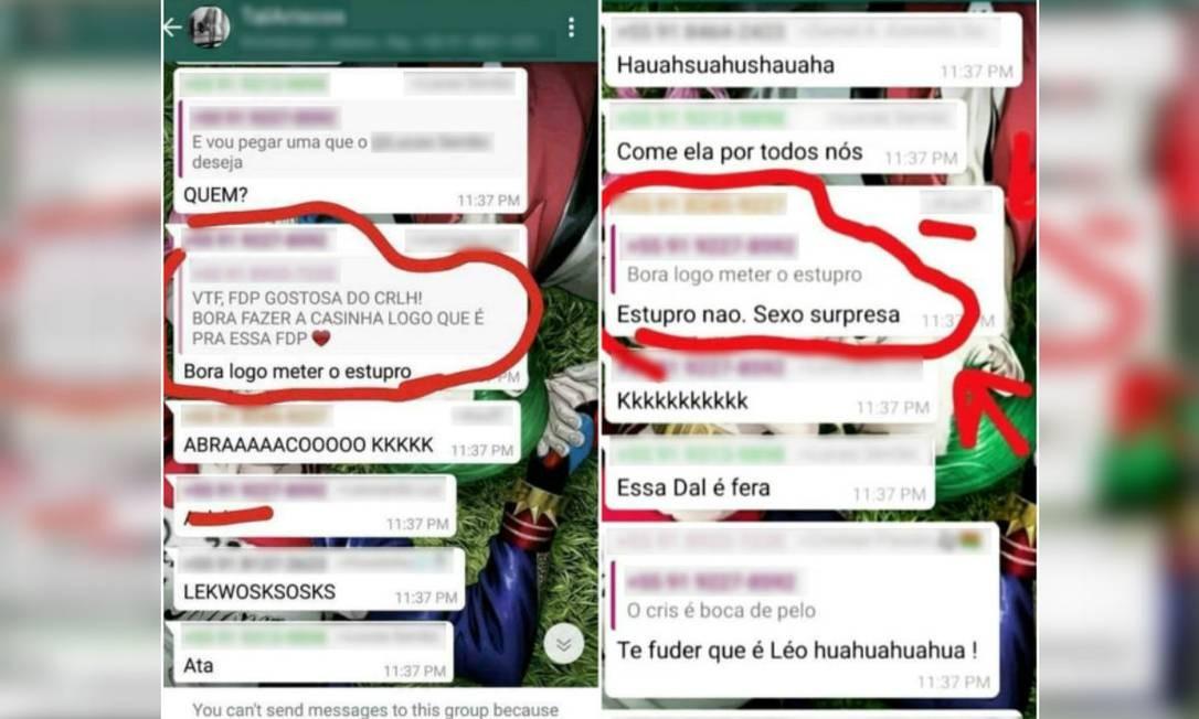 Alunas da Universidade Federal Rural da Amazônia denunciaram autores de mensagens que incitam estupro Foto: Reprodução