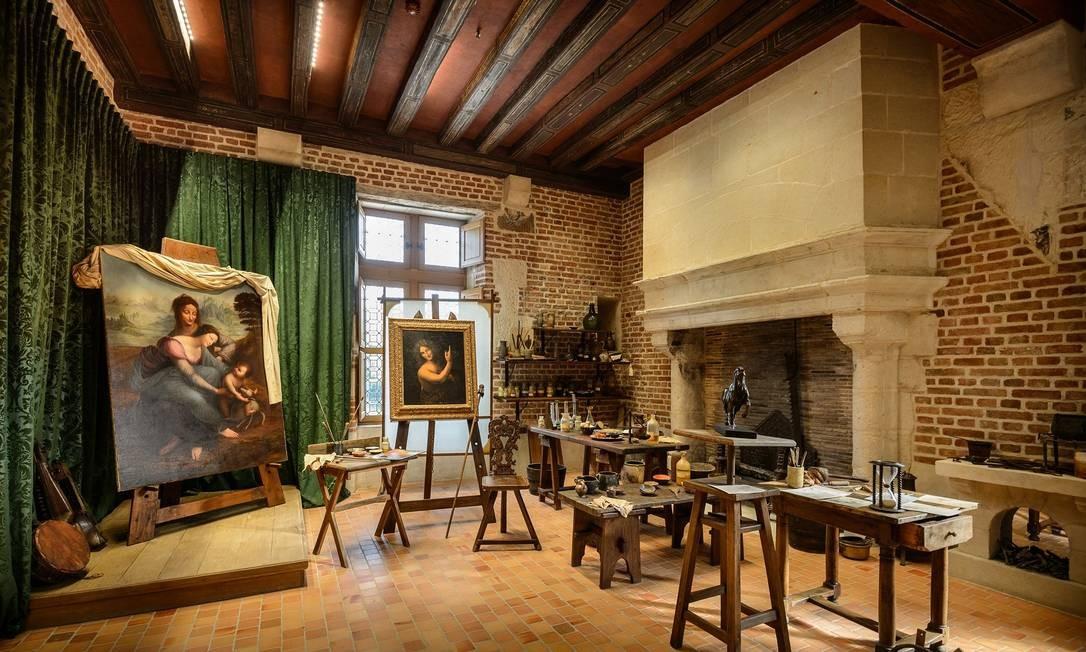 Reprodução do estúdio de Da Vinci, no Palácio de Clos Lucé Divulgação/MARC GINOT