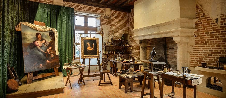 Reprodução do estúdio de Da Vinci, no Palácio de Clos Lucé Foto: Divulgação/MARC GINOT