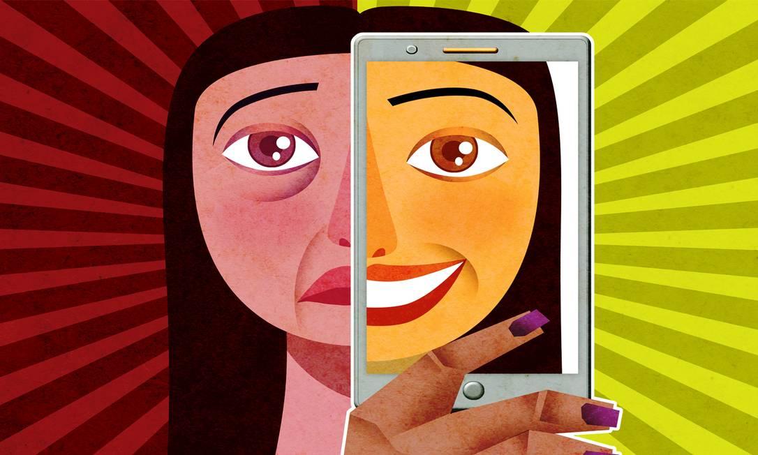 Nas redes sociais, as pessoas aparentam ser felizes o tempo todo, mas a realidade é diferente Foto: Ilustração de André Mello / Agência O Globo