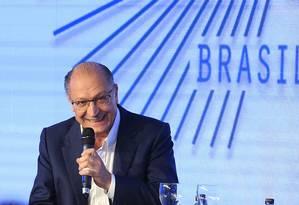 Geraldo Alckmin participa de evento com presidenciáveis em São Paulo Foto: Edilson Dantas/Agência O Globo/07-08-2018