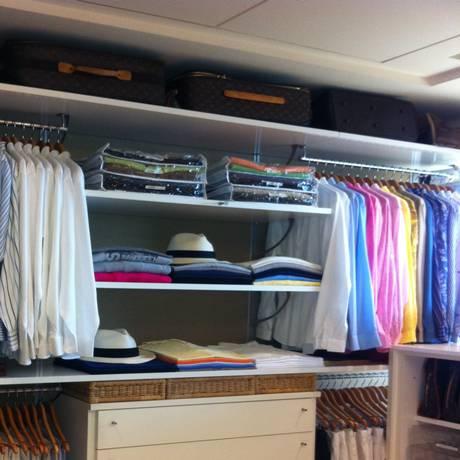 Closet masculino: arrumação facilita a vida Foto: Arquivo pessoal