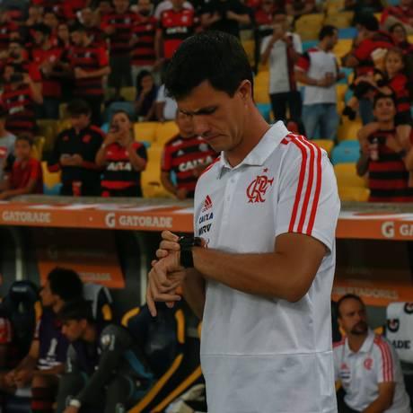 O técnico do Flamengo, Mauricio Barbieri, na partida contra o Cruzeiro Foto: Marcelo Regua / Agência O Globo