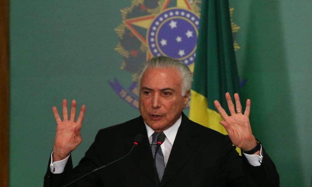 O presidente Michel Temer sancionou a lei que instituiu a tabela com preços mínimos para o frete Foto: Ailton de Freitas / Agência O Globo