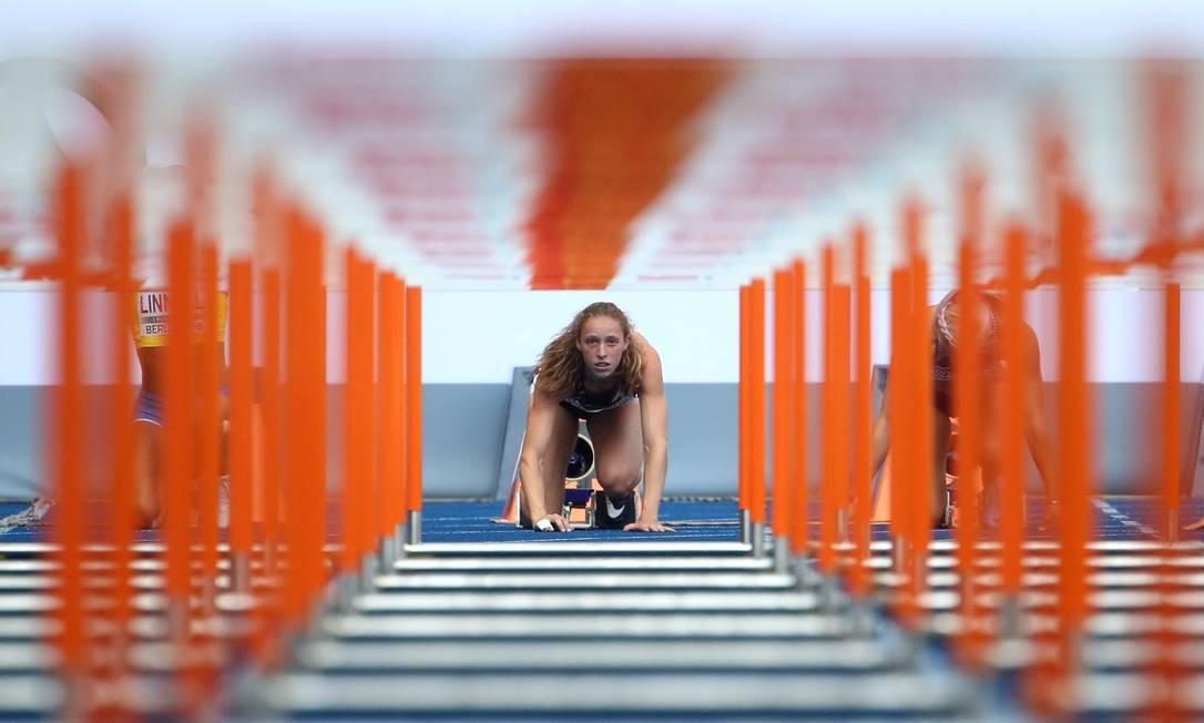 Campeonato Europeu de Atletismo - Heptatlo feminino 100m com obstáculos Heats - Estádio Olímpico, Berlim, Alemanha - 9 de agosto de 2018 MICHAEL DALDER / REUTERS