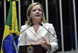 A senadora Gleisi Hoffmann (PT-PR) discursa na tribuna do Senado Foto: Geraldo Magela/Agência Senado