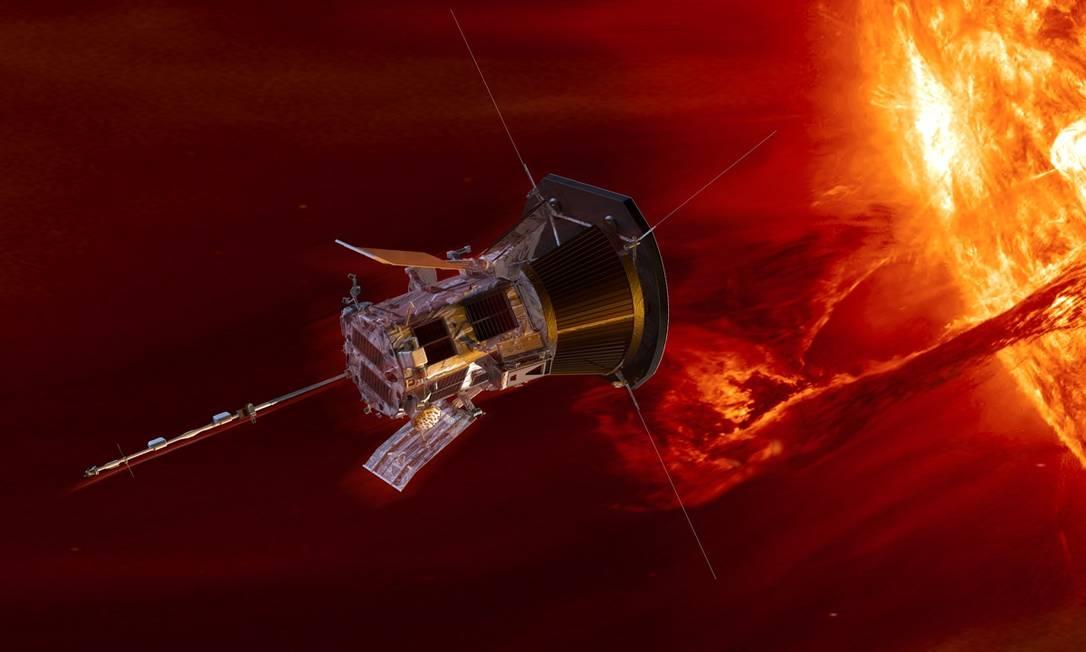 Ilustração mostra a Parker Solar Probe nas cercanias do Sol Foto: / APL/NASA/GSFC