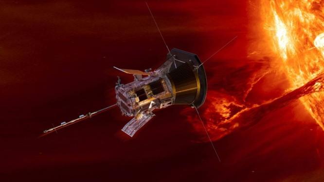 Ilustração mostra a Parker Solar Probe nas cercanias do Sol Foto: APL/NASA/GSFC