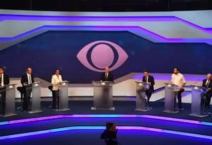 Presidenciávies no debate da TV Bandeirantes Foto: NELSON ALMEIDA / AFP