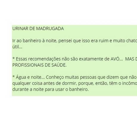 Mensagem que circula no Whatsapp sobre urinar à noite Foto: Reprodução/ Whatsapp