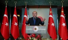 O presidente da Turquia, Recep Tayyip Erdogan, durante encontro em Ankara. Foto: HANDOUT / REUTERS