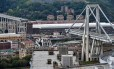 Trecho da Ponte Morandi, em Gênova, desmonorou Foto: PIERO CRUCIATTI / AFP