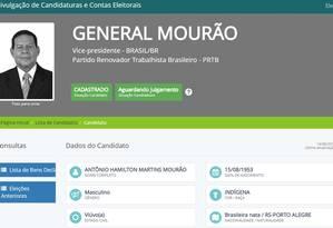 General Mourão se autodeclara indígena Foto: Reprodução