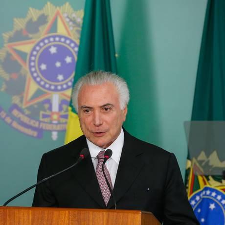 O presidente Michel Temer participa da cerimônia de sanção da lei de proteção de dados Foto: Cesar Itiberê/Presidência