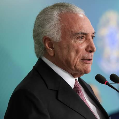 O presidente Michel Temer, durante cerimônia no Palácio do Planalto Foto: Marcos Correa/Presidência