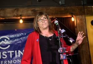 Christine Hallquist na primária democrata de Vermont, na terça-feira Foto: STRINGER / REUTERS