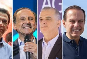 Os candidatos a governo de São Paulo Luiz Marinho, Paulo Skaf, Márcio França e João Doria Foto: Arte / O Globo