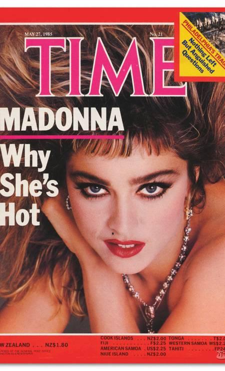 """Que tal essa franja? A capa da revista """"Time"""" de 1985 confirmou o posto de estrela internacional Foto: Reprodução"""