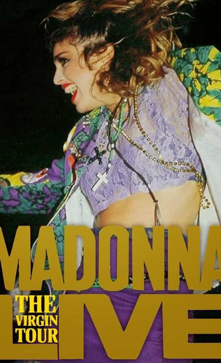 """Em sua primeira turnê, """"The Virgin"""" (1985), Madonna se jogou nas cores e nas rendas, além de pendurar um punhado de crucifixos no pescoço. O acessório religioso é uma de suas marcas até os dias de hoje Foto: Divulgação"""