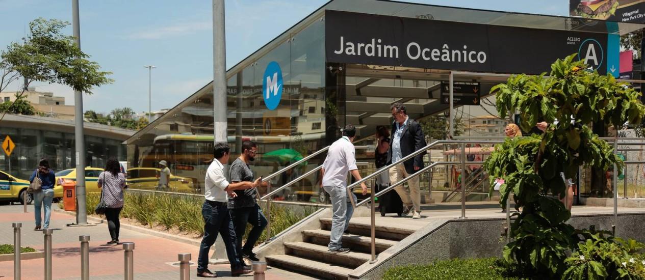 A estação Jardim Oceânico, da Linha 4 Foto: Brenno Carvalho 24-01-2018 / Agência O Globo