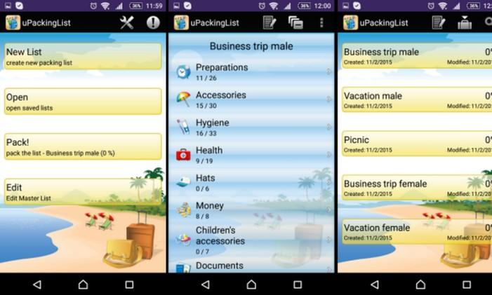 uPackinglist: categorias diversas Foto: Divulgação