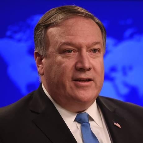 Secretário de Estado dos EUA, Mike Pompeo, no anúncio da criação do Grupo de Ação para o Irã, em Washington Foto: ANDREW CABALLERO-REYNOLDS / AFP