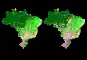 Imagem mostra o uso da terra no Brasil em 1985 e 2017 Foto: MapBiomas